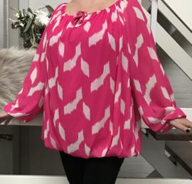 ITALIA MODA oversized viscose top/blouse met elastiek aan de onderkant