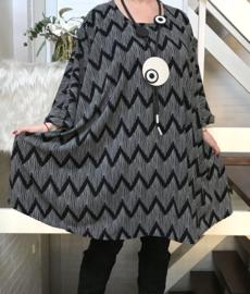 Chloe oversized  A-lijn tuniek/ jurk met zakken apart stretch (extra groot)