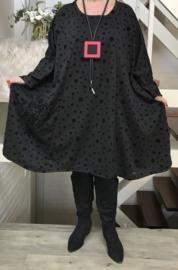 Nadine oversized A-lijn jersey jurk apart (extra groot) zwart stretch