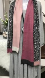 ITALIA zachte viscose sjaal grijs/oud roze