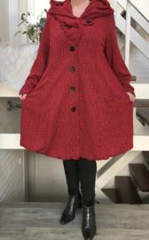 New Jersey  A-lijn jas/mantel met capuchon /gevoerd stretch