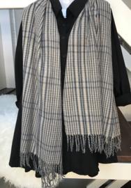 ITALIA zachte viscose/wol sjaal grijs/beige