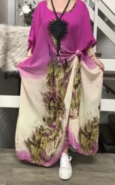 Alicia  oversized chiffon jurk/poncho/wrap apart   (extra groot)