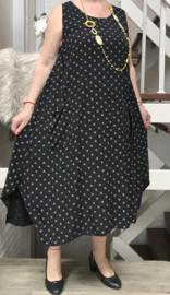 ITALIA luchtige viscose zomer A-lijn jurk zwart