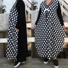 AKH jersey viscose ballon jurk zwart/wit stretch