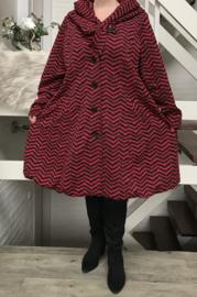New Jersey  A-lijn jas/mantel met capuchon /gevoerd stretch rood/zwart
