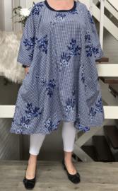 Joanna oversized A-lijn geborduurde bloemen jurk/tuniek met zakken apart (extra groot)