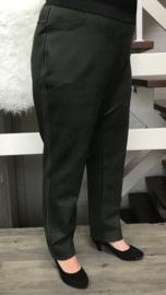ITALIA  stretch broek/tregging  legergroen met bis ( extra groot)