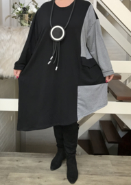 ITALIA katoen joggingstof A-lijn asymmetrisch jurk/tuniek /in meerdere kleuren