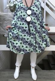 Stella  oversized jersey A-lijn jurk/tuniek met zakken apart stretch  (extra groot)