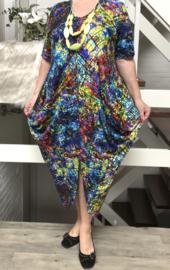 Naveed jersey A-lijn jurk apart multicolor
