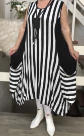 Naveed jersey strepen A-lijn jurk apart zwart/wit