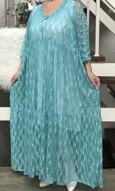 Maud oversized A-lijn viscose kanten stretch jurk apart (extra groot)