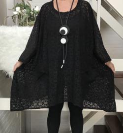 Stella oversized A-lijn KANTEN  jurk/tuniek apart (extra groot) zwart