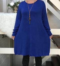 ITALIA jersey acryl A-lijn  jurk/tuniek met ketting /in meerdere kleuren