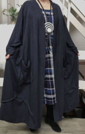 Pauline oversized A-lijn jersey blazer/jas  (extra groot)  apart donkerblauw