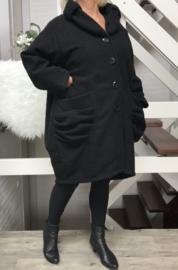 Moonshine oversized gevoerde mantel/ jas ( extra groot) wol/viscose