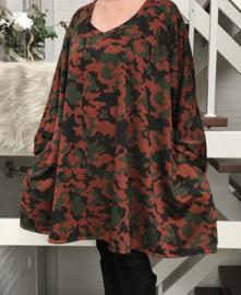 Francies oversized jersey A-lijn tuniek/ jurk met zakken apart stretch  (extra groot)