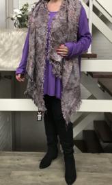 Italia super zacht winter viscose/katoen dubbelzijdig sjaal lila/grijs
