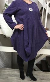 ITALIA jersey viscose A-lijn jurk met ketting  /in meerdere kleuren