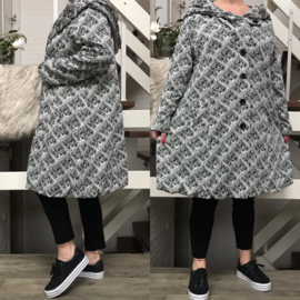 New Jersey  A-lijn jas/mantel met capuchon /gevoerd stretch zwart/wit