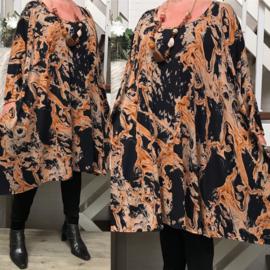Martha oversized viscose jersey A-lijn jurk/tuniek met zakken apart(extra groot)stretch