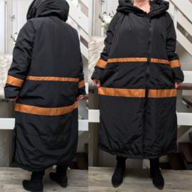 SINNE design.. A-lijn waterbestendig gewatteerde winter jas zwart