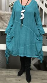 La Bass katoen de modieuze kleuring jurk met zakken/in meerdere kleuren