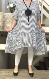 ITALIA katoen asymmetrisch jurk zwart/wit