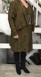 New Jersey viscose a-lijn jurk + blazer apart mosterdgeel