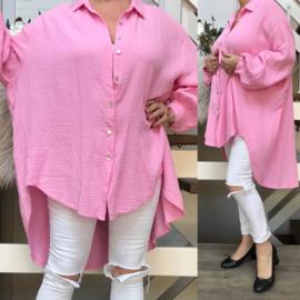 ITALIA oversized zachte wafelstof katoen blouse/hemd/in meerdere kleuren