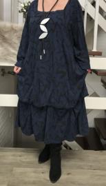 RARO  tricot katoen A-lijn jurk met verstelbare plooien donkerblauw