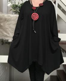La Bass viscose jersey  A-lijn tuniek  stretch zwart (extra groot)