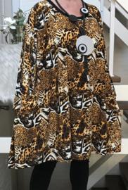 Vera oversized A-lijn jersey tuniek/jurk met zakken apart (extra groot)