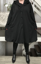 New Jersey  A-lijn jas/mantel met capuchon /gevoerd stretch zwart