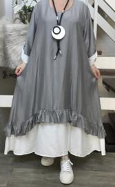 SINNE design.. A- lijn viscose jurk met imitatie onderjurk/grijs/wit