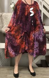 Edith oversized viscose jersey A-lijn jurk met zakken apart (extra groot)stretch