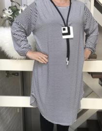ITALIA  oversized viscose jersey strepen tuniek/jurk