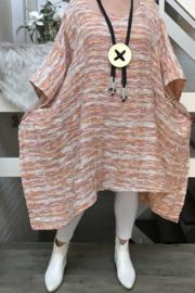 Judith oversized jersey katoen tuniek/poncho apart (extra groot)