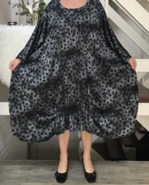 Nadine oversized A-lijn jersey jurk apart (extra groot) zwart/grijs