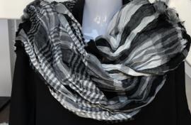 Italia geruite sjaal zwart/wit