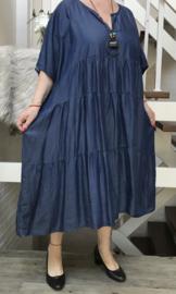ITALIA jeans tencel  A-lijn jurk met ketting