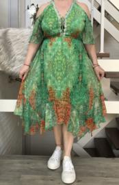 ITALIA chiffon A-lijn jurk gevoerd