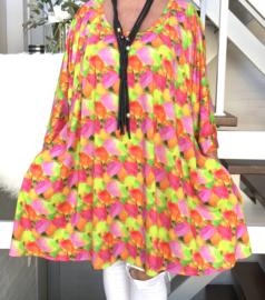 Trudy oversized A-lijn viscose jersey tuniek/jurk met zakken apart (extra groot)