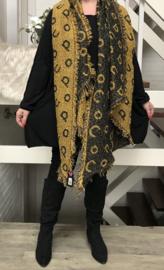 Italia super zacht winter viscose/katoen dubbelzijdig sjaal okergeel/zwart