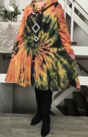 La Bass katoen de modieuze kleuring jurk/tuniek met sjaal