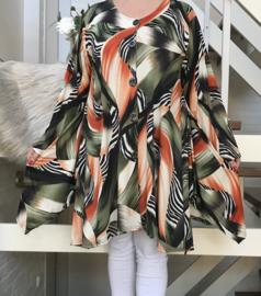 RAFAY jersey A-lijn  tuniek met knopsluiting /in meerdere kleuren