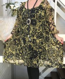 Hannah oversized A-lijn KANTEN jurk/tuniek apart (extra groot) stretch