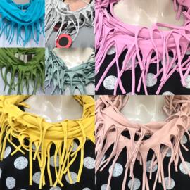 Moonshine cirkel sjaal met franjes apart/ smal model/in meerdere kleuren