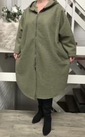 ITALIA oversized  bouclé mantel/ jas  met ritssluiting /in meerdere kleuren